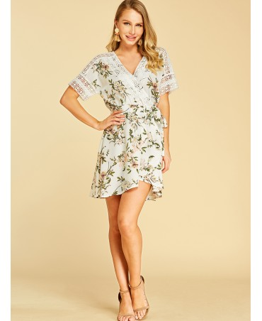 White crochet lace embroidered flowers printed v-neck dress