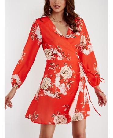 Red casual print v-neck mini wrap dress