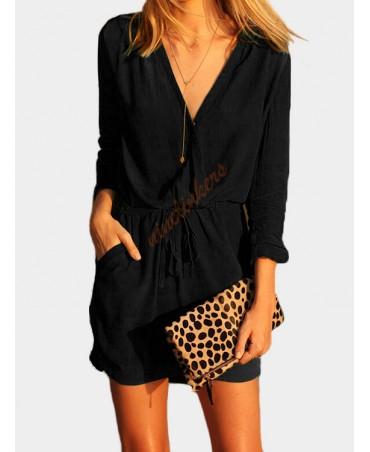 Black v-neck drawstring waist 3/4 long sleeve wrap dress, transparent design