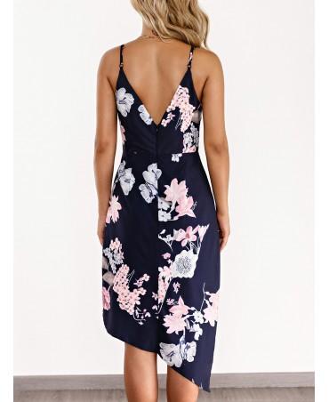 Navy blue cross front design floral print wrap dress with asymmetrical hem