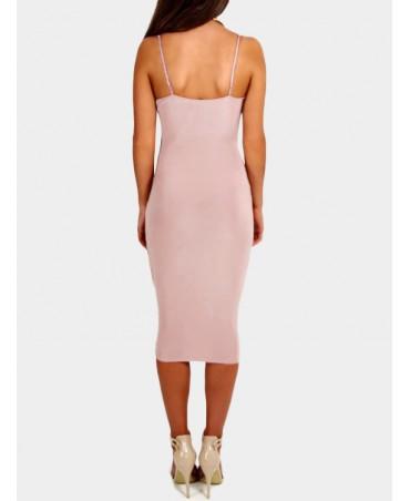 Pink v-neck split MIDI wrap dress