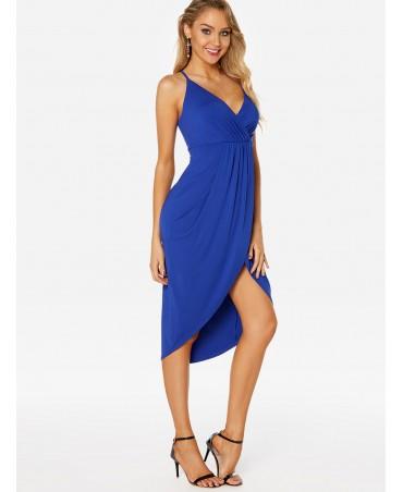 Irregular blue deep v-neck sleeveless tight waist skirt dress
