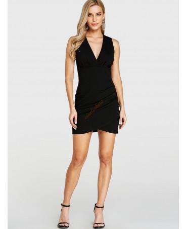 Black sleeveless hemmed dress with v-neck