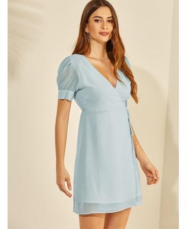 Sky blue self - design V - neck bubble sleeve dress