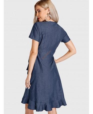 Navy blue denim wrap dress with v-neck ruffles