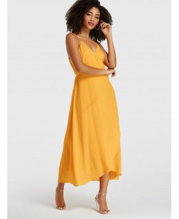 Yellow spaghetti lace-up sleeveless dress