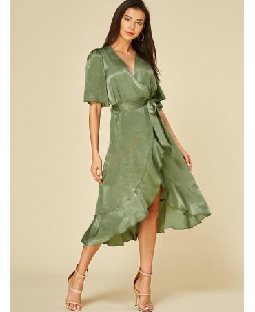 Green ruffled short-sleeved dress with deep v-neck