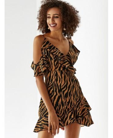 Coffee zebra print strapless v-neck mini dress