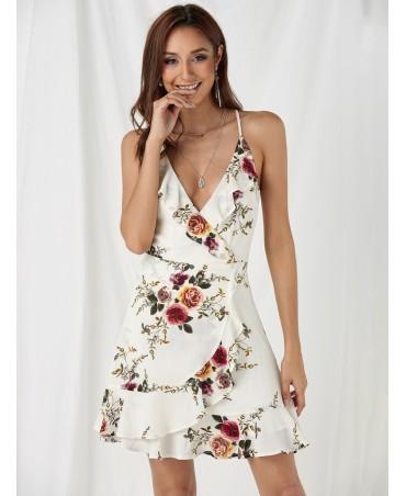White lace back design casual floral print v-neck spaghetti dress