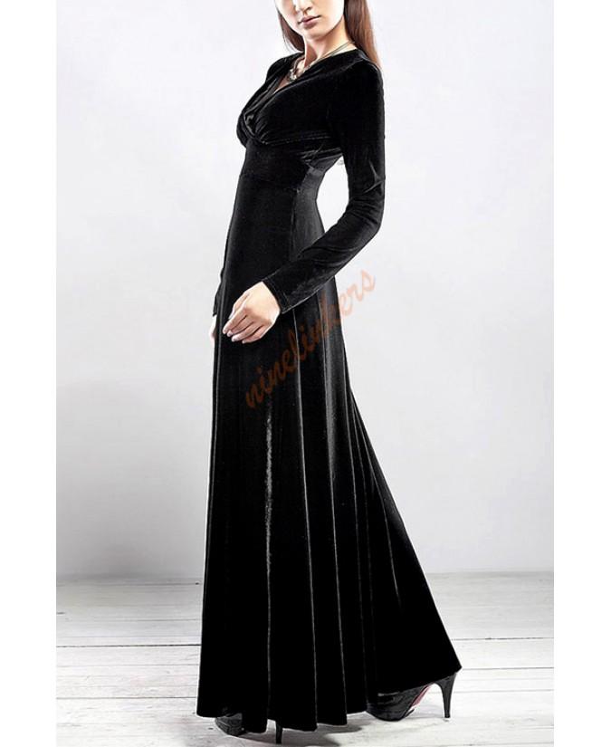 Black velvet front dress