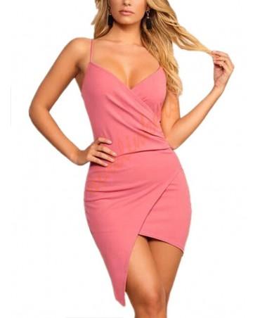Pink cross front design V neck sleeveless wrap dress