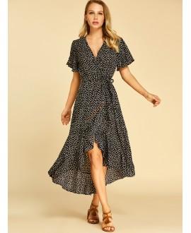 Black flounce printed dress with deep v-neck