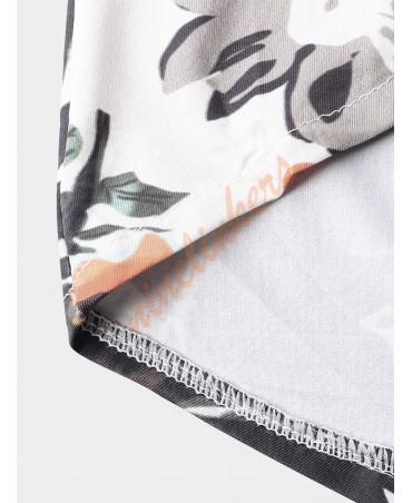 Casual floral print long sleeve shirt with drawstring waist shorts