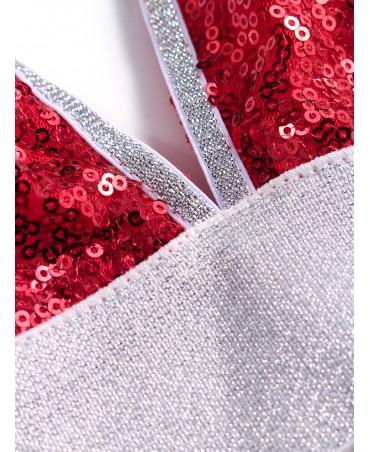 Red sequins adorn the spaghetti bra dress