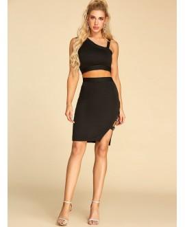 Black one-shouldered slit designed a two-piece dress