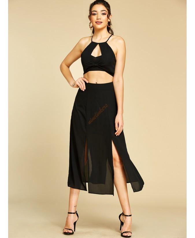 Black sexy adjustable halter top sleeveless two-piece
