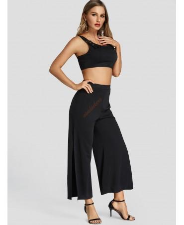 Black tank neck slit design pants company