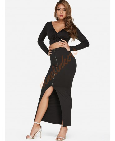 Black zipper design with crossed front long sleeve and slit bottom two-piece suit
