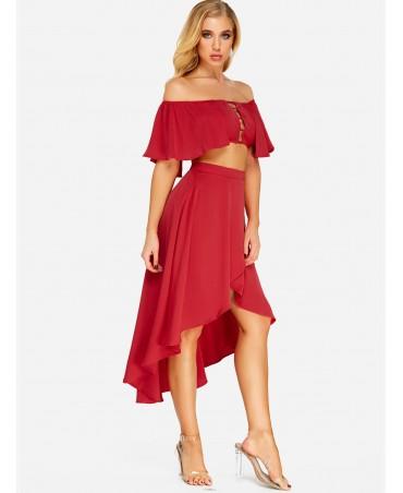 Burgundy strapless skirt company