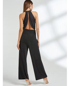 Black cross front design halter top wide leg pants company