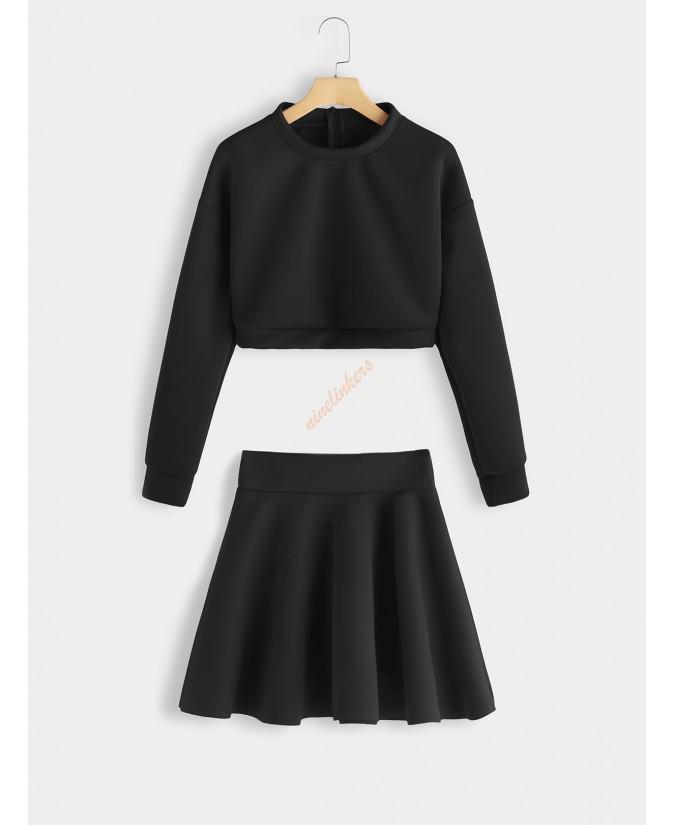 Black crew-neck ruffled skirt