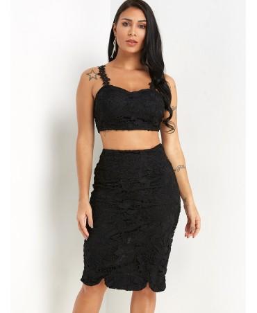 Black spaghetti cut v-neck jacket slit skirt lace fabric
