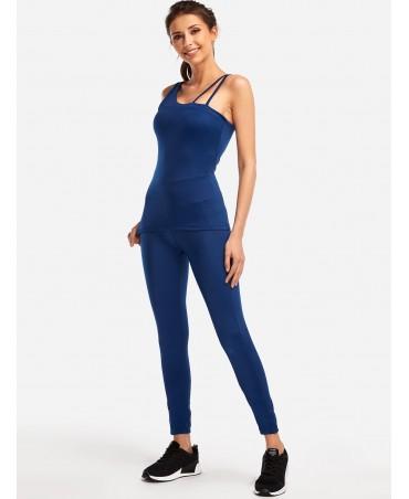 Blue one-shoulder sport slim Bodycon fashion two-piece suit
