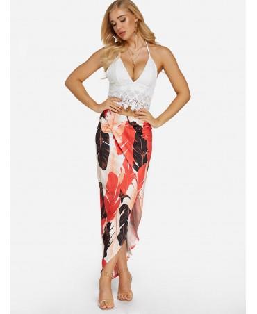 Sexy lace insert split leaf print skirt two-piece set