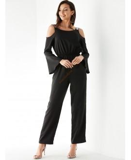Black cold shoulder elastic belt jumpsuit