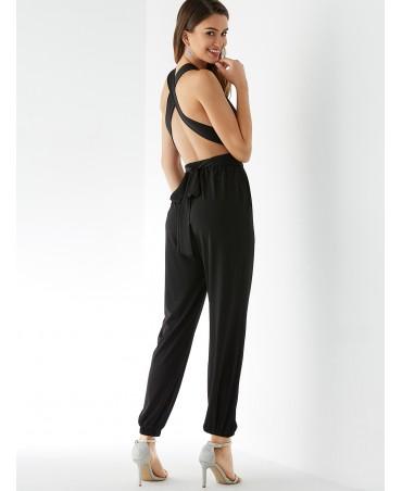 Black deep V neck sleeveless jumpsuit