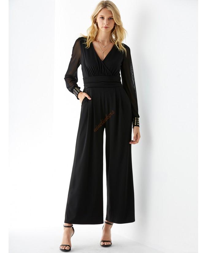 Black v-neck long-sleeve wide-legged jumpsuit mesh
