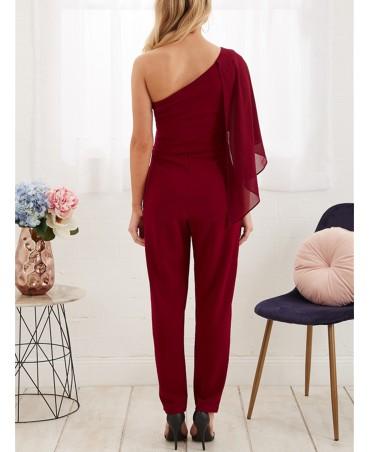 Burgundy one-shoulder jumpsuit