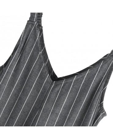 ZANZEA Random stripe loose-fitting sleeveless jumpsuit