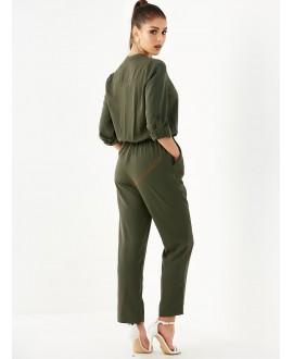 Army green v-neck belted jumpsuit
