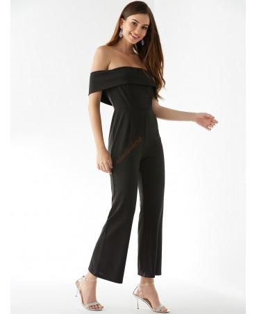 Black open-shouldered, short-sleeved jumpsuit