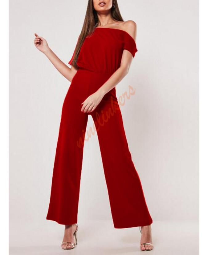 The red belt is a short sleeved, open-shouldered jumpsuit