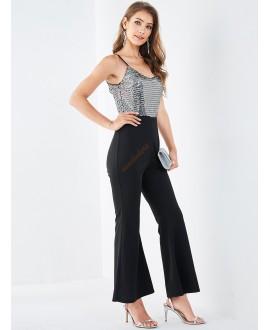 Black back - less sleeveless body pants