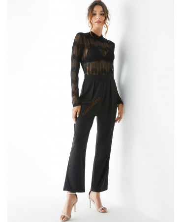 Black lace side pocket pleated jumpsuit