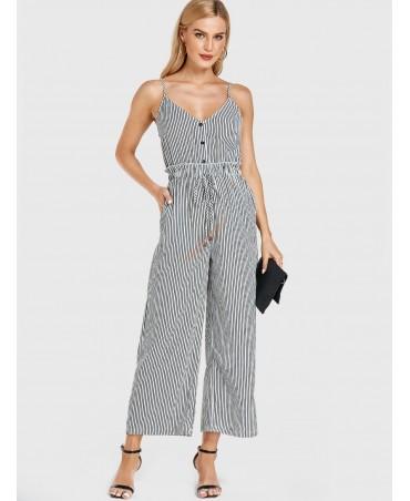 White strap striped pocket drawstring waist jumpsuit