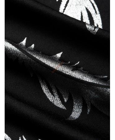 Black v-neck printed cross front design jumpsuit