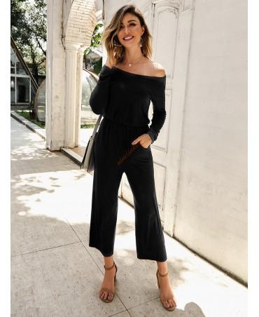 Black strapless stretch waist long sleeve jumpsuit