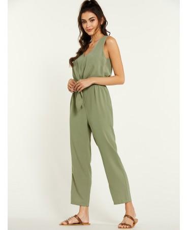 Green v-neck tie design sleeveless chiffon jumpsuit