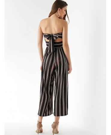 Black striped stretch belt shirt tube jumpsuit