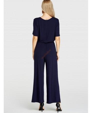 Navy blue pocket half sleeve stretch belt jumpsuit