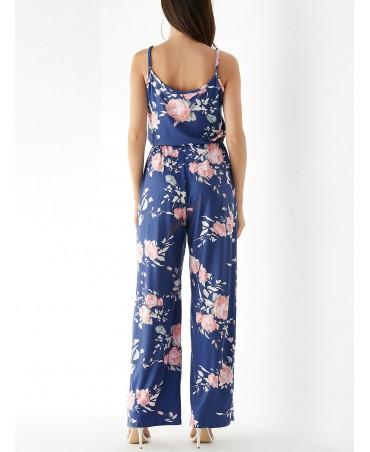 Blue casually printed sleeveless drawstring waist jumpsuit