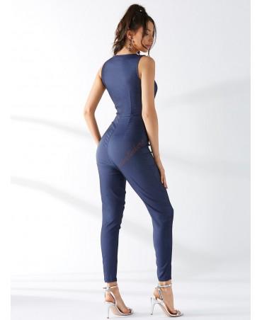 Blue zipper front high-waisted sleeveless jumpsuit