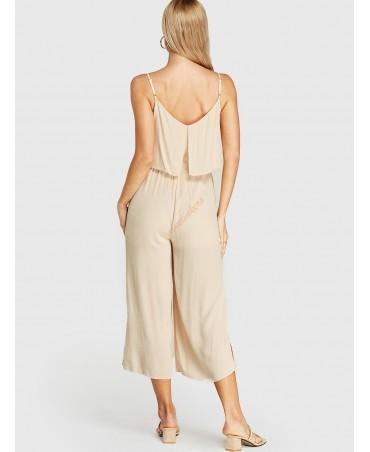 Beige thin sash fringed sleeveless jumpsuit