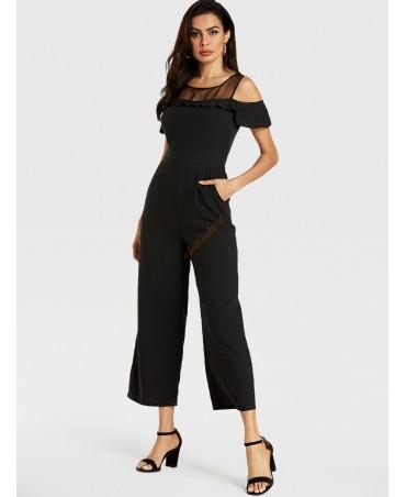 Black flounce edge cold shoulder short sleeve mesh jumpsuit