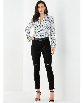 Black button-down zipper design jeans
