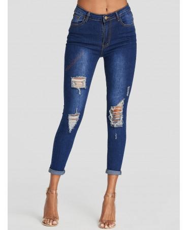 Dark blue mid-rise skinny floral jeans
